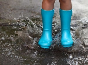 kids wellie boots in puddles