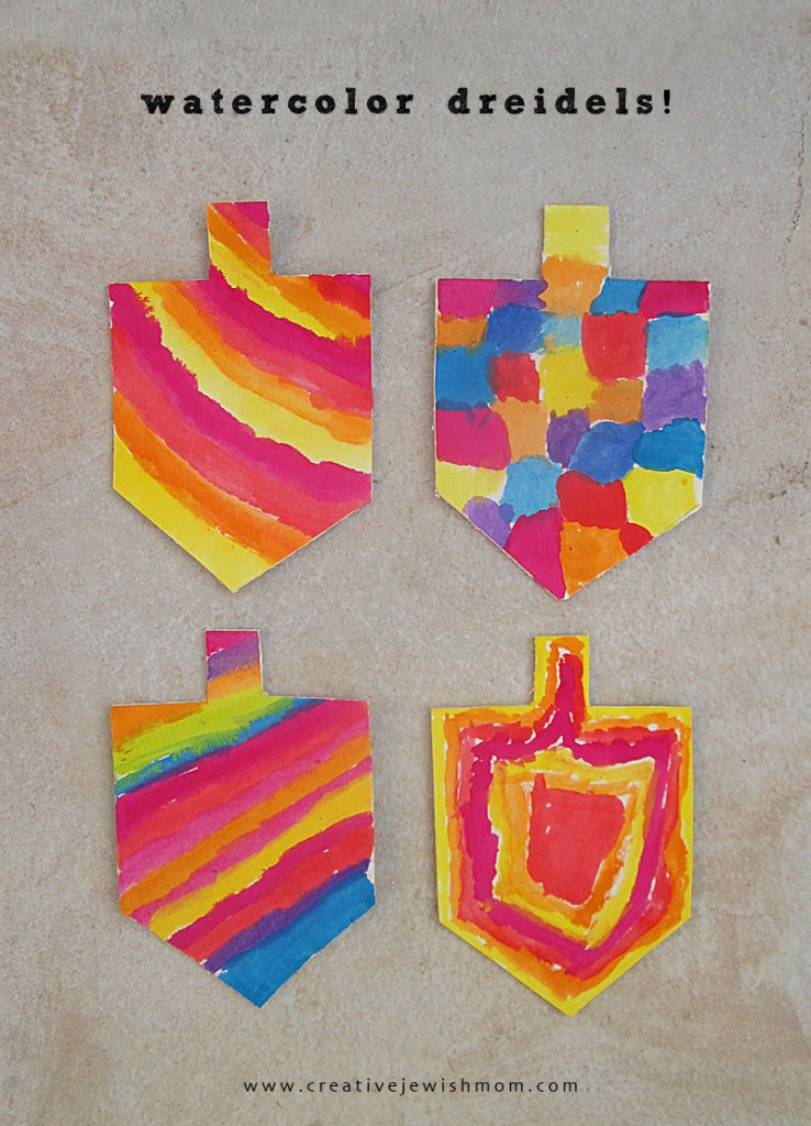 watercolour dreidels