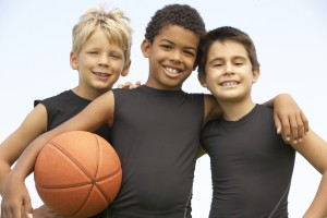3 boys with basketball