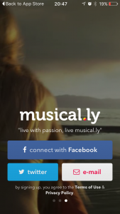 musical.ly front screen