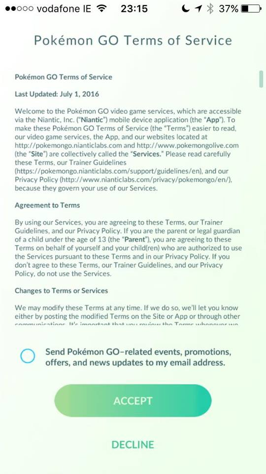 Pokemon Go Sign Up Screenshot
