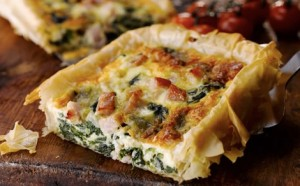 Healthy Lunch Ideas bord bia bacon, spinach and cheese tart