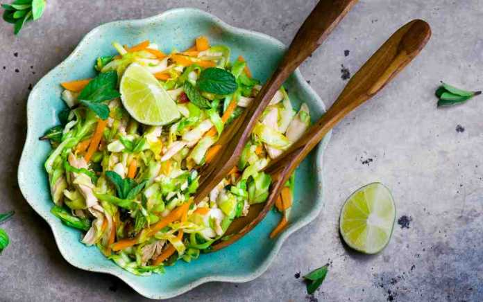vietnamese chicken salad with cabbage and mint