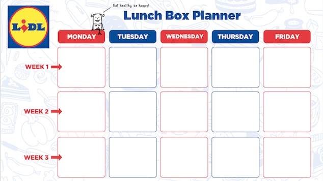 Lunch Box Ideas Planner from Lidl