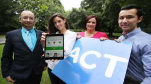Pictured are Alison Canavan (2nd left), Mother and Health & Wellness Coach, Siobhan Carroll (3rd left), CEO of charity ACT for Meningitis launching ACT for Meningitis' international Lifesaving App with app creators Trevor Durity (left) and Victor Miko (right). Photograph: Leon Farrell / Photocall Ireland