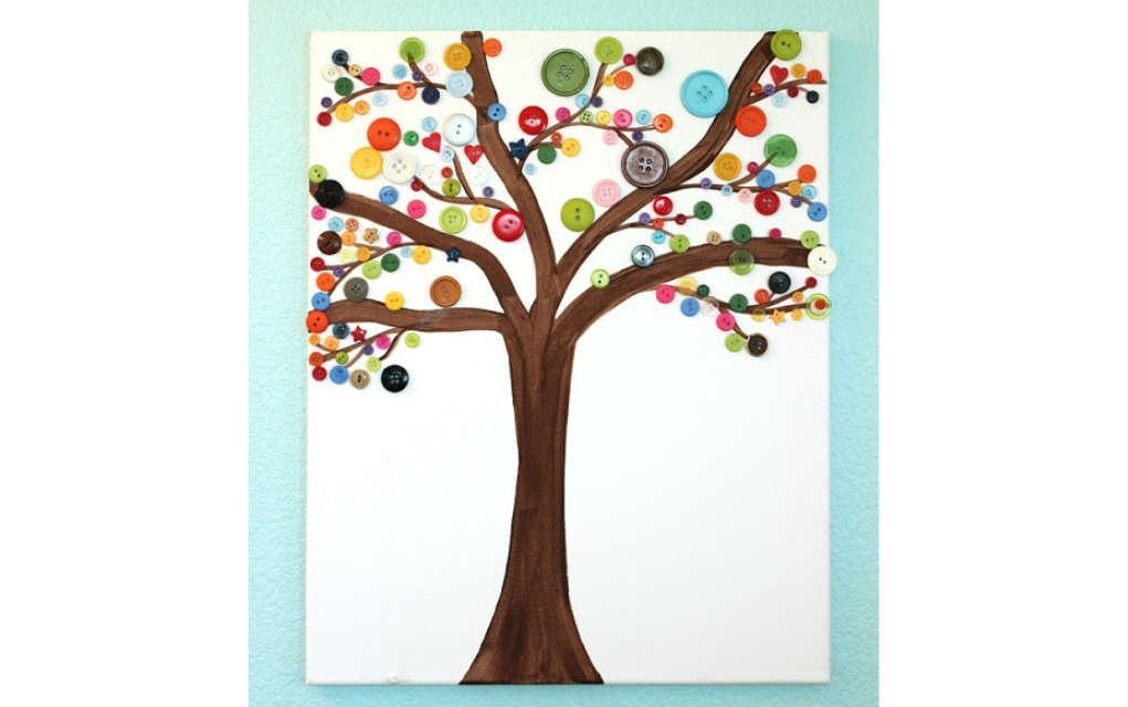 Button tree crafts for kids - Mykidstime