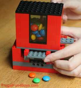 Crafts for kids lego candy dispenser from frugal fun for boys