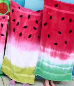 Crafts for Kids watermelon tie dye beach towel from Having Fun at Home
