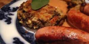 sausage recipes sausages with leek and black pudding potato cakes
