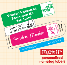 Iron on peronsalied name tag labels