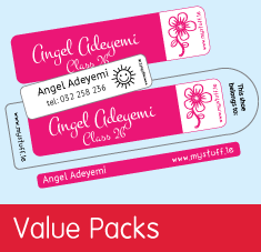 value pack personalised name tag labels