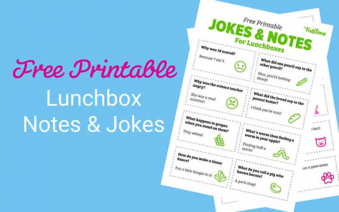 Lunchbox notes and jokes - Mykidstime