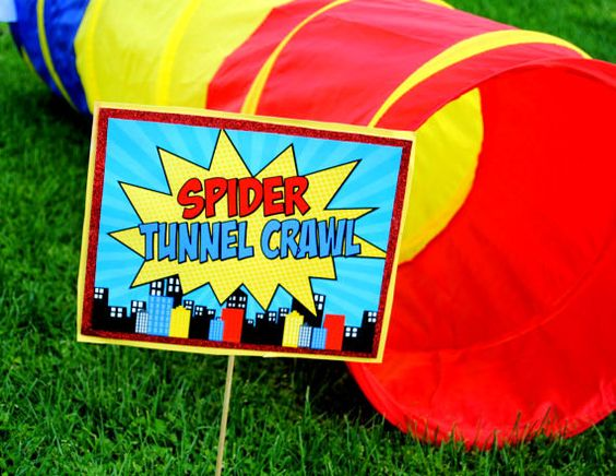 superhero theme party games spiderman tunnel crawl from Etsy