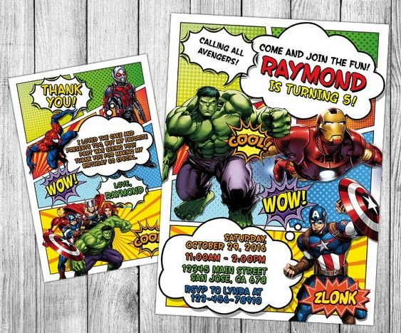 superhero theme party invitations