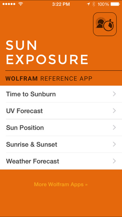 wolfram sun exposure app screen