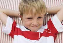 Audio Books Boy listening to book