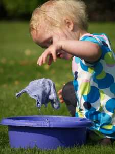 messy play with water