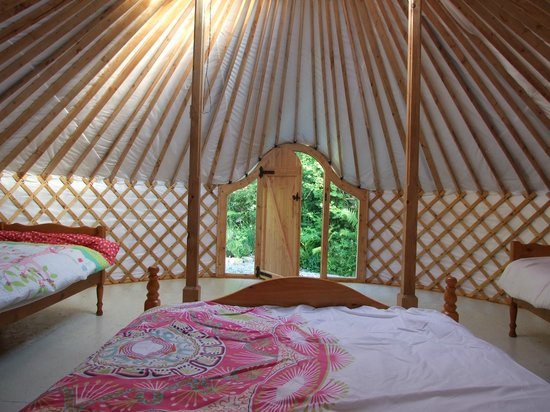 pink apple orchard glamping