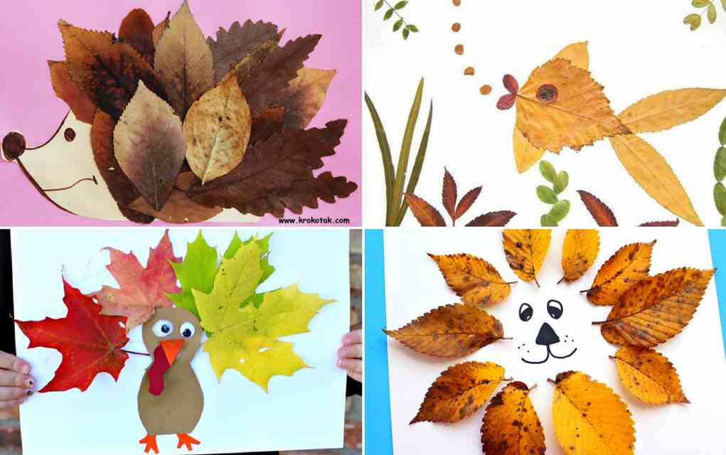 Leaf crafts - leaf animals