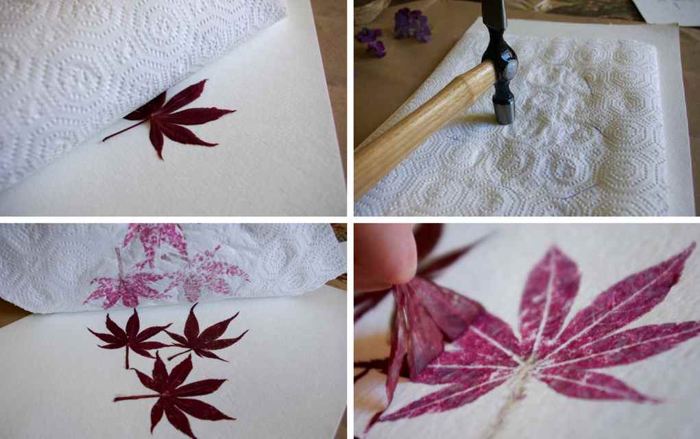 Leaf Craft Ideas - Leaf Hammering