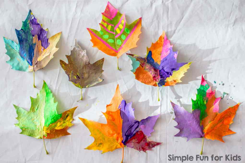 Leaf Craft Ideas - Painting Leaves