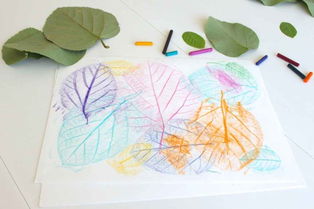 Leaf craft ideas - leaf rubbing