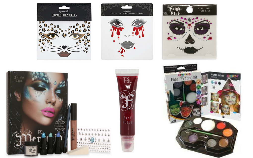 Clockwise from top left: Leopard face stickers and blood drop face sticker  sets, from a selection at Accessorize; Candy skull face gems, €2.50,  Penneys; ...