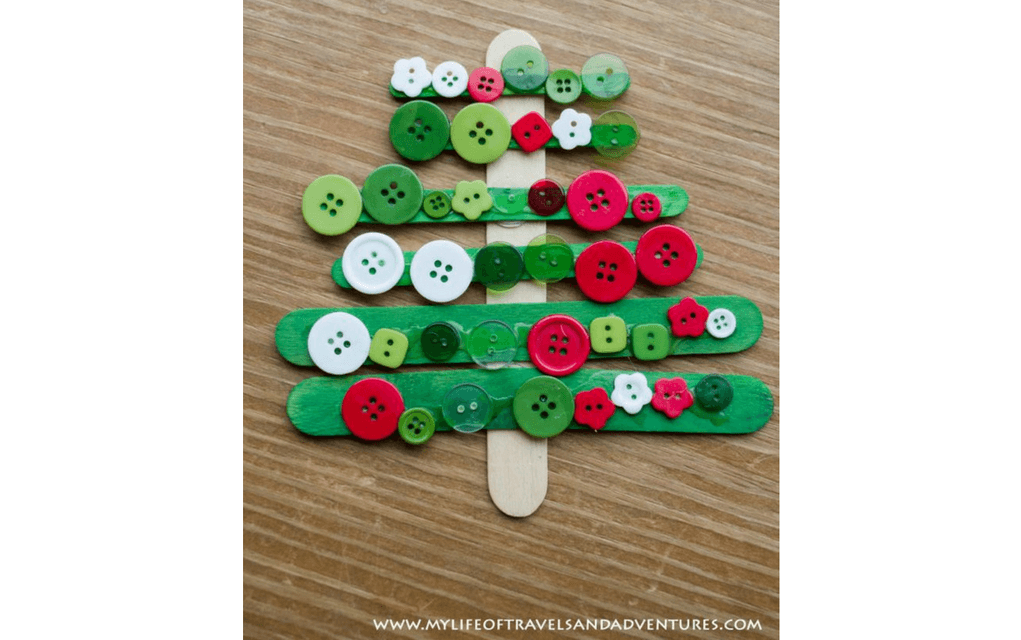 Lollipop stick Christmas tree for preschooler Christmas crafts