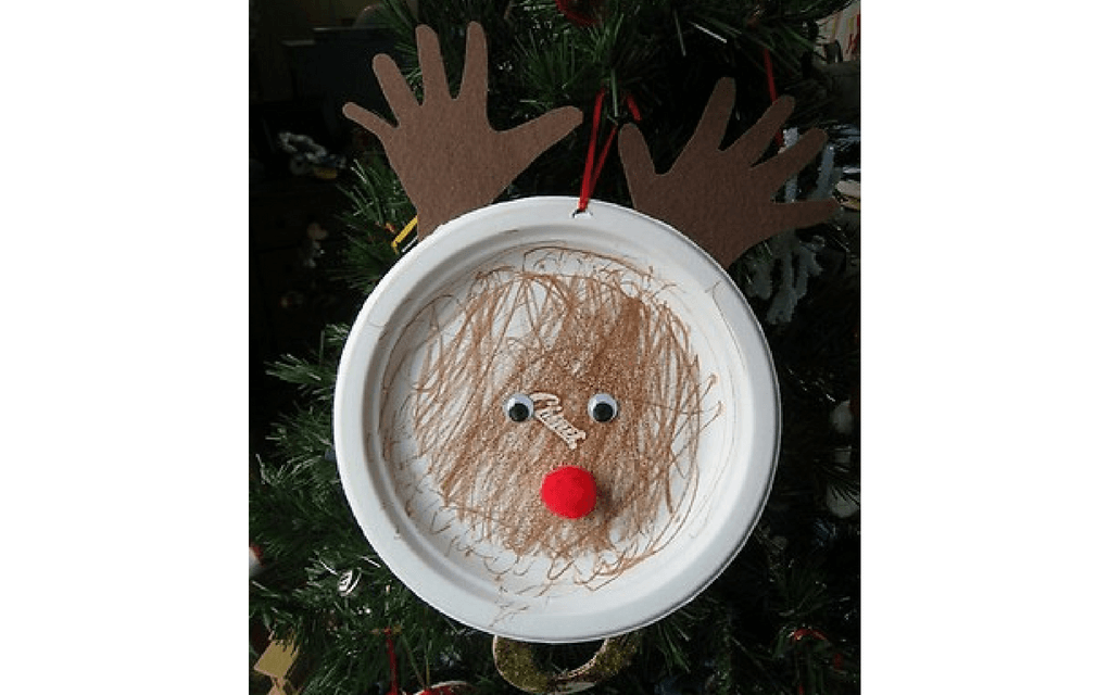 Reindeer paper plate for preschooler Christmas crafts