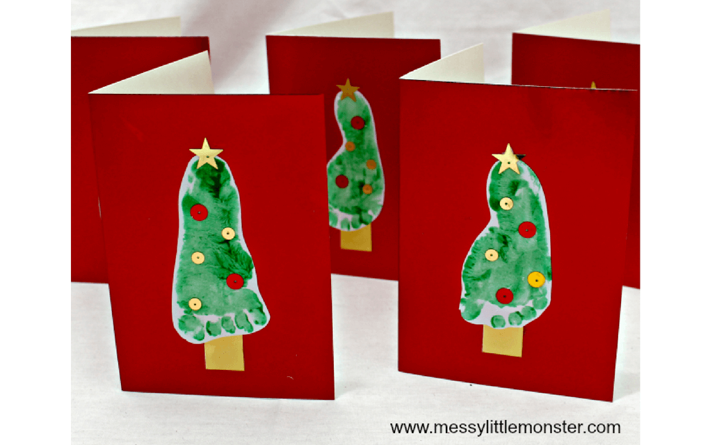 Footprint Christmas cards for preschooler Christmas crafts