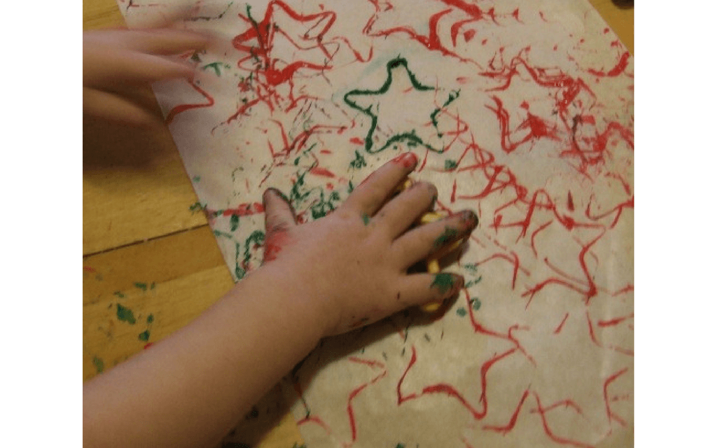 Homemade wrapping paper for preschooler Christmas crafts
