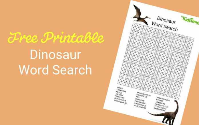 Download Your Free Dinosaur Word Search - Mykidstime