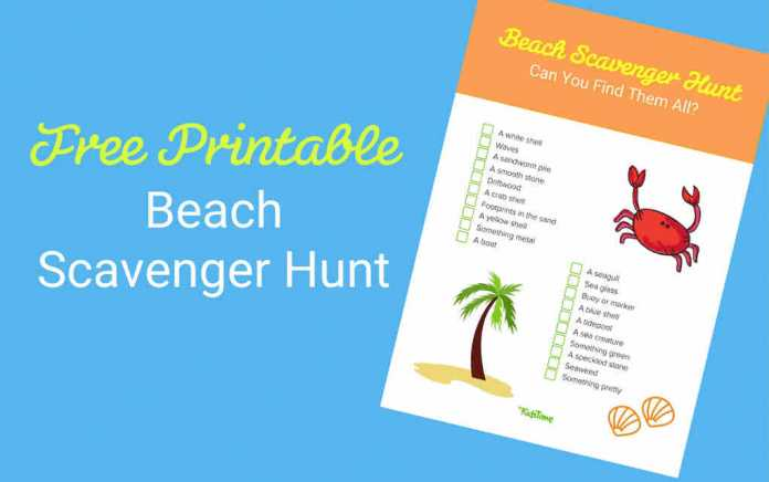 Beach scavenger hunt lead - Mykidstime