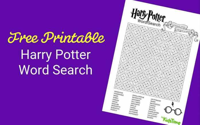 Download Your Free Harry Potter Word Search - Mykidstime