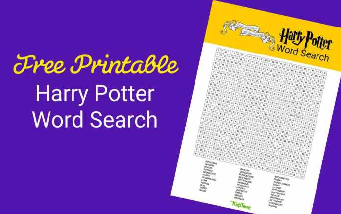 Harry Potter word search lead - Mykidstime