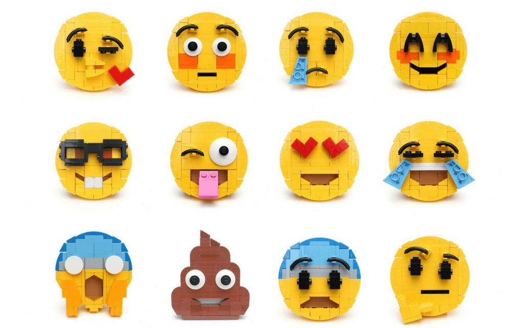 Lego instructions 12 different emoji faces