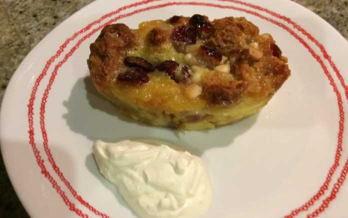 Soda bread and butter pudding recipe with white chocolate and cranberries