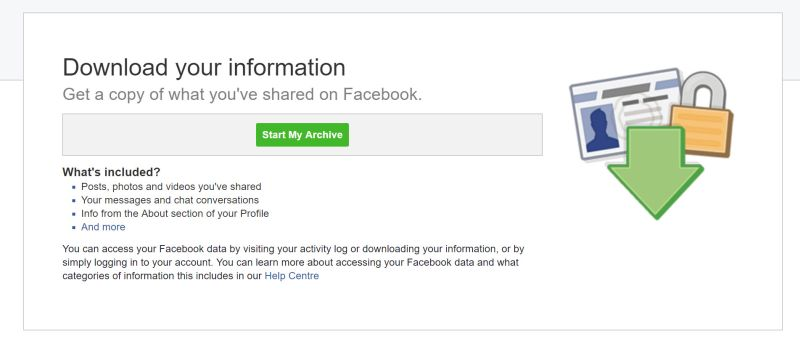 facebook download archive screen
