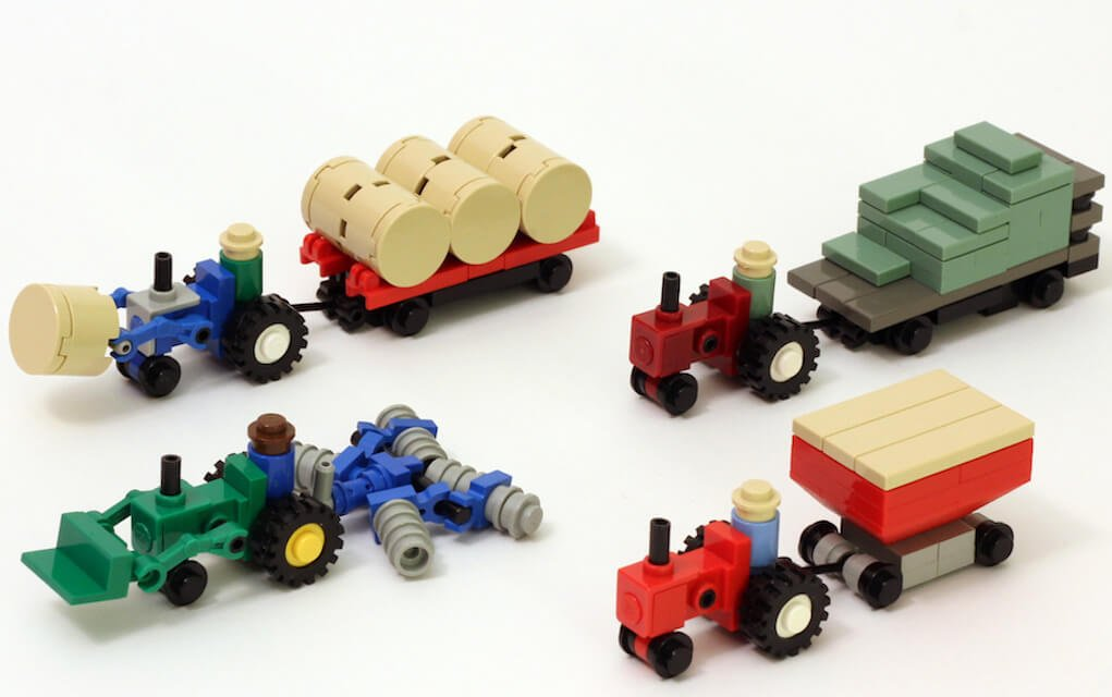 Lego instructions how to build micro farm tractor and equipment