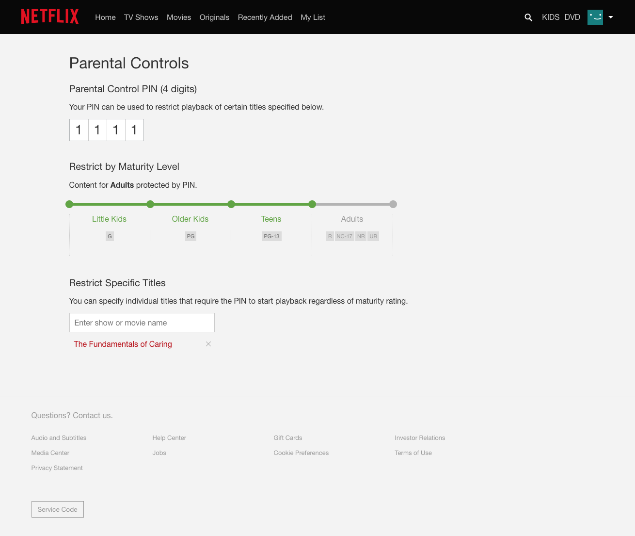 netflix parental control pin
