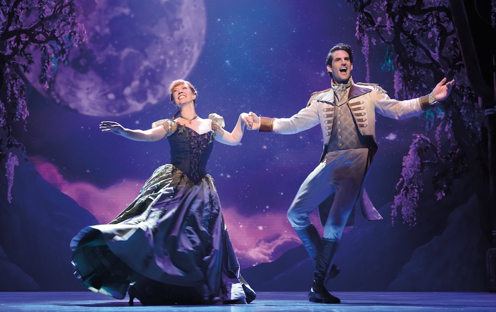 Frozen Broadway production shot of Anna and Hans dancing