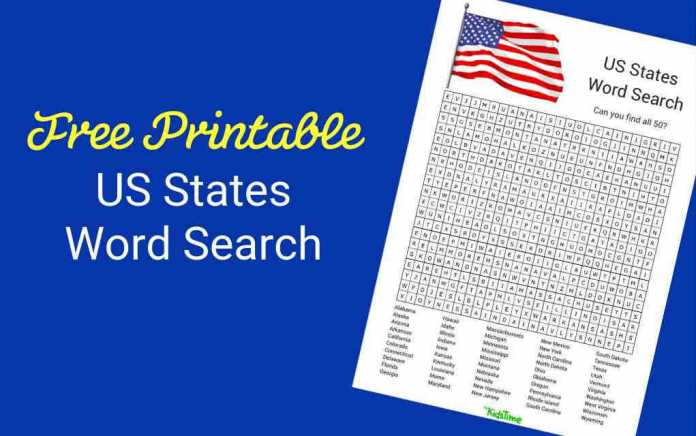 Download Your Free US States Word Search - Mykidstime