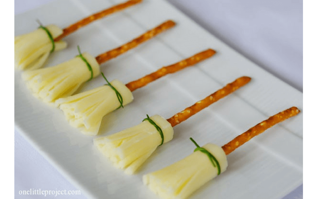 Harry Potter food cheese and pretzel broomsticks from One Little Project