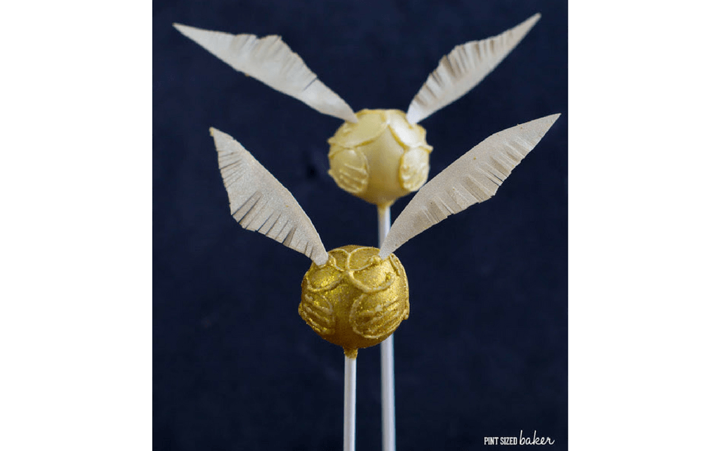 Harry Potter food golden snitch cake pops from Pint Sized Baker