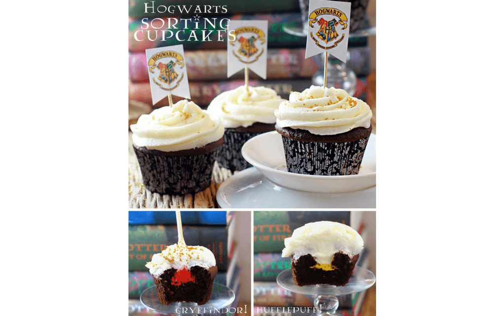 Harry Potter food sorting house cupcakes from Sugar Bean Bakers