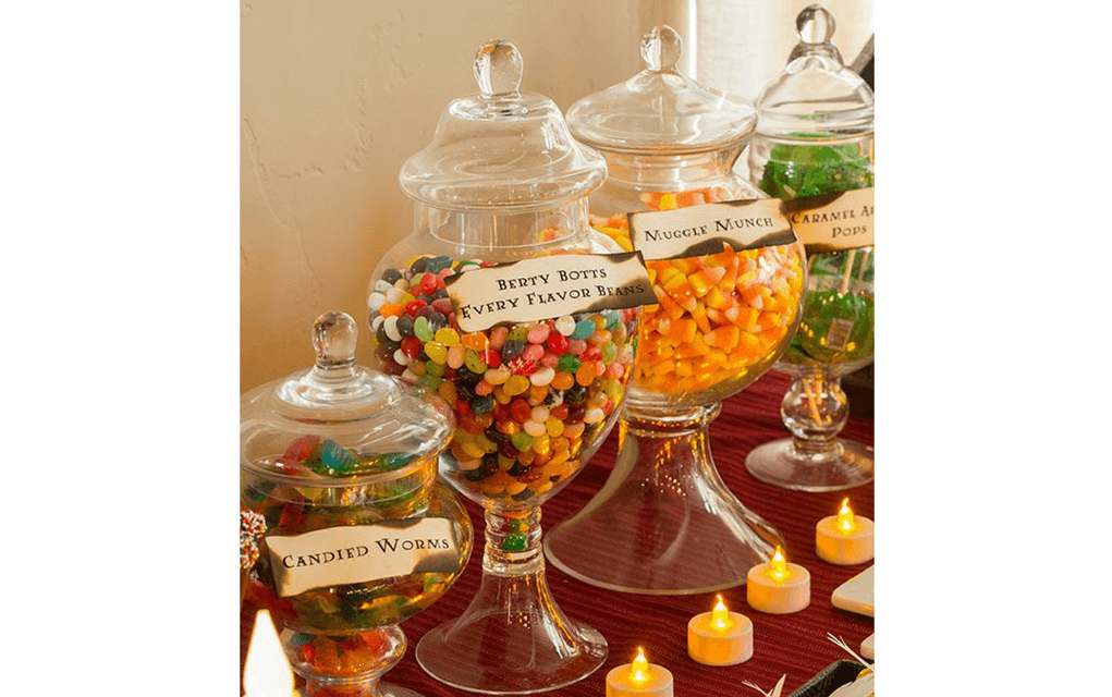 Harry Potter food sweet selection in glass jars from Cooking Classy