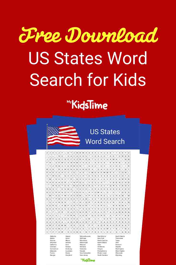 US State word search - Mykidstime