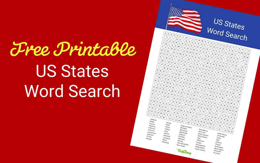 US States word search lead - Mykidstime