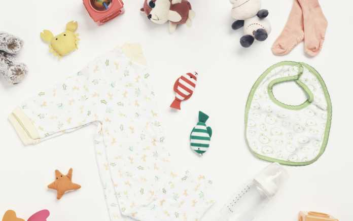 Selection of baby items for baby checklist