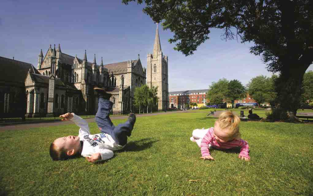 Children at St Patrick's Cathedral outdoor places in Dublin